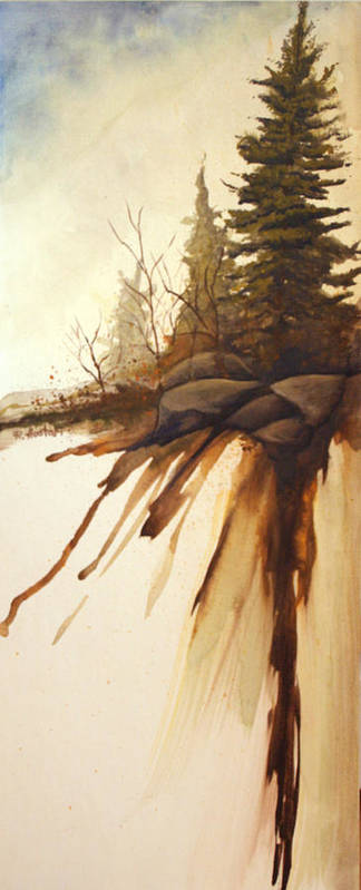 Rick Huotari Poster featuring the painting North Woods Pines by Rick Huotari