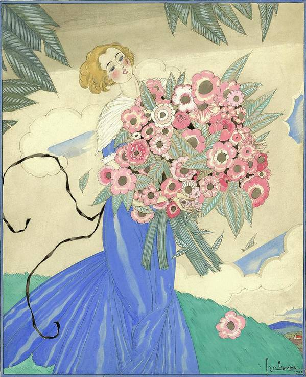 Fashion Poster featuring the digital art A Woman In A Blue Dress Holding A Bouquet by Georges Lepape