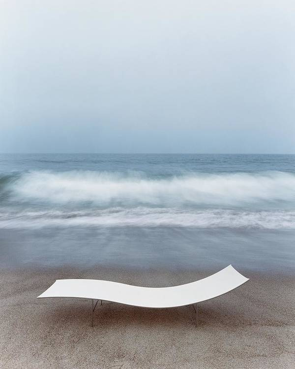 Nobody Poster featuring the photograph Flexy Batyline Mesh Curve Chaise On Malibu Beach by Simon Watson