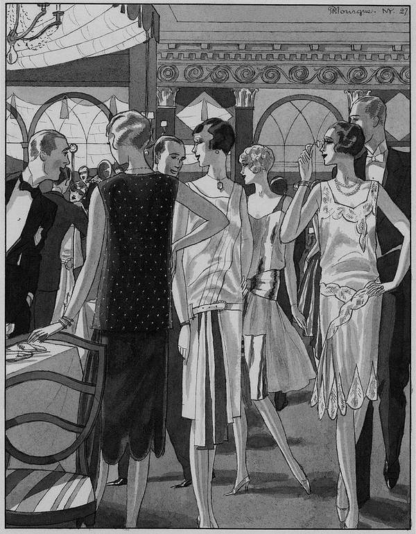 Fashion Poster featuring the digital art Four Women In Evening Wear by Pierre Mourgue