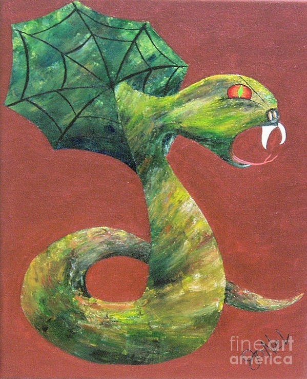 Dark Poster featuring the painting Khiel...The Snake by JoNeL Art
