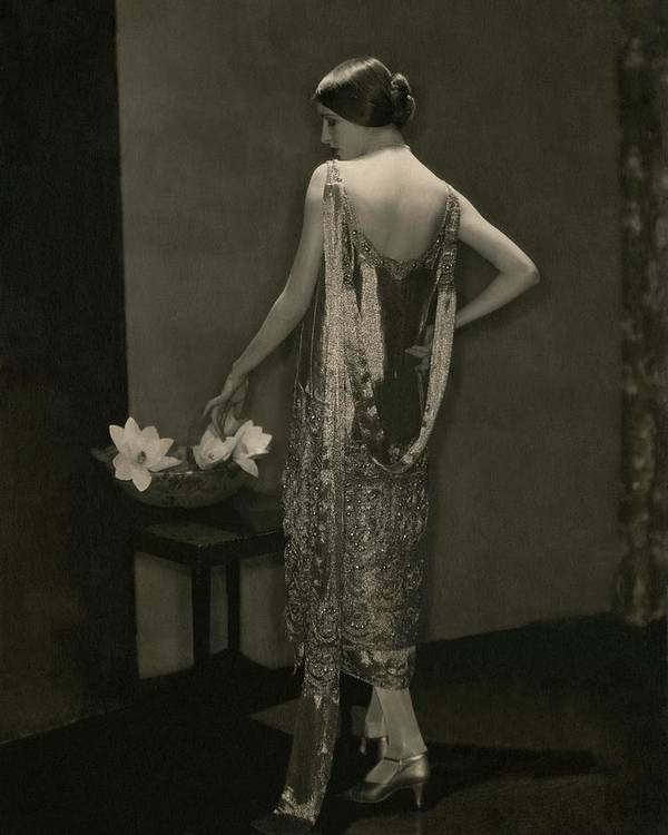 Designer Poster featuring the photograph Marion Morehouse Wearing A Chanel Dress by Edward Steichen