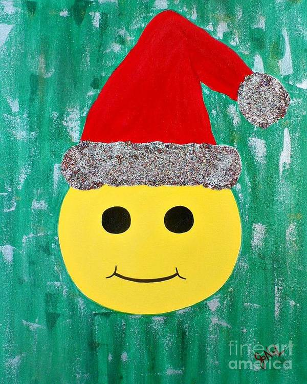 Christmas Poster featuring the painting Merry Face by JoNeL Art