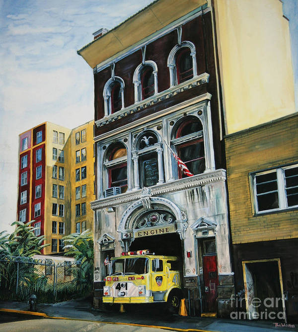 Fdny Poster featuring the painting FDNY Engine Company 41 by Paul Walsh