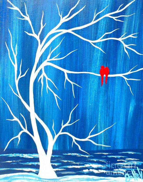 Blue Poster featuring the painting Red Birds On Blue by JoNeL Art
