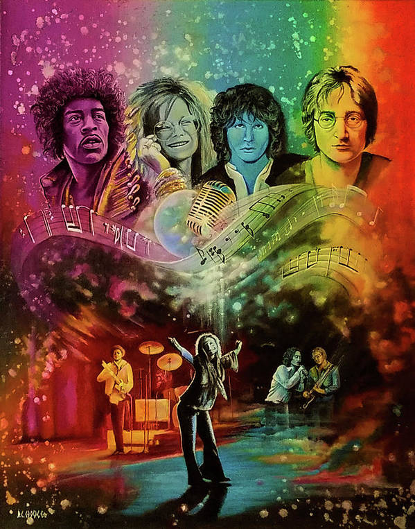 Hendrix Poster featuring the painting The 4js by DC Houle
