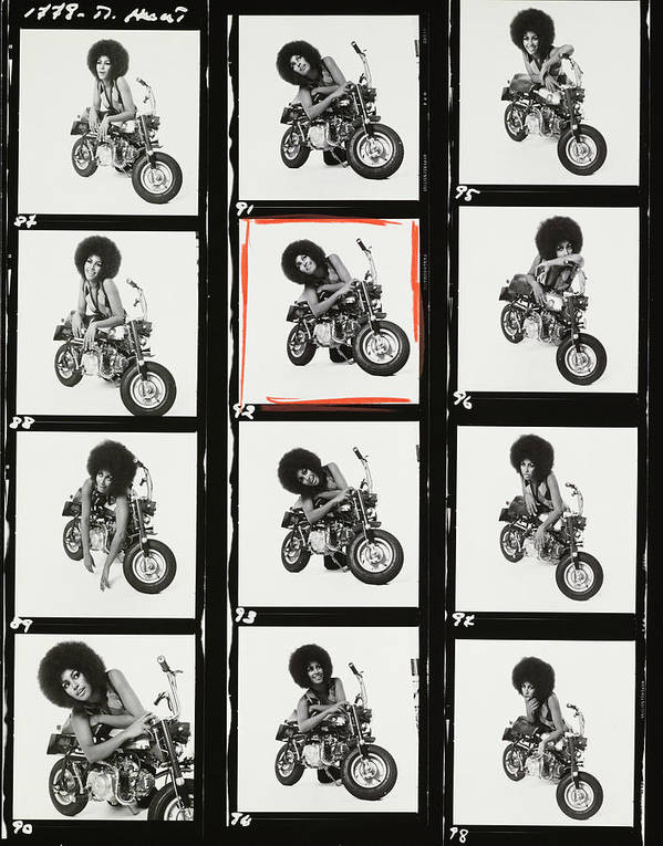 Model Poster featuring the photograph Contact Sheet of Marsha Hunt with a Motorbike by Patrick Lichfield