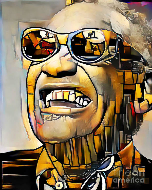 Wingsdomain Poster featuring the photograph Ray Charles in Vibrant Contemporary Cubism Colors 20200725 by Wingsdomain Art and Photography