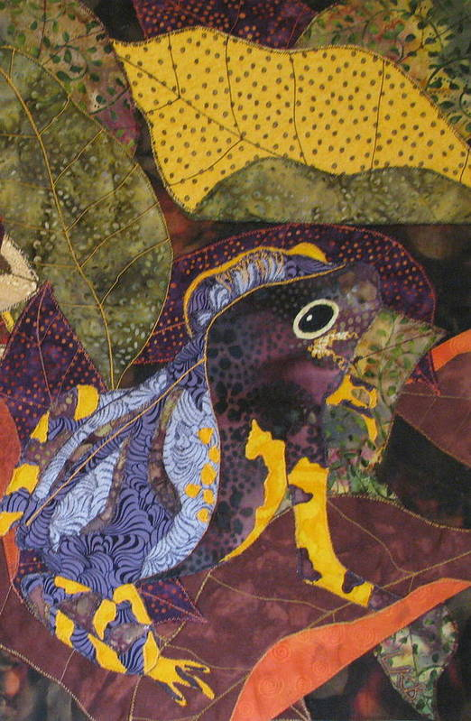Nature Tapestries Textiles Poster featuring the tapestry - textile Camouflaged Forest Toad by Lynda K Boardman