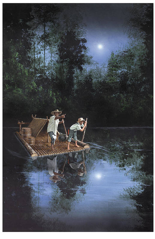 Harold Shull Poster featuring the painting On The River by Harold Shull