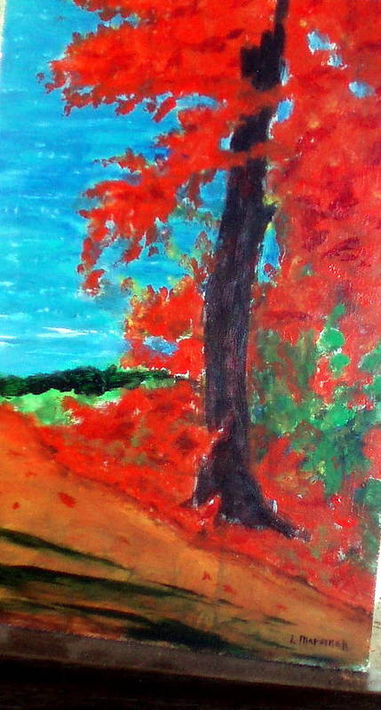 Fall Poster featuring the painting Path To The Lake by Lia Marsman