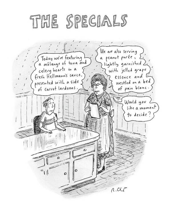 Food Dining Low Cuisine Service Restaurants Word Play  (waitress Reads Poster featuring the drawing The Specials by Roz Chast