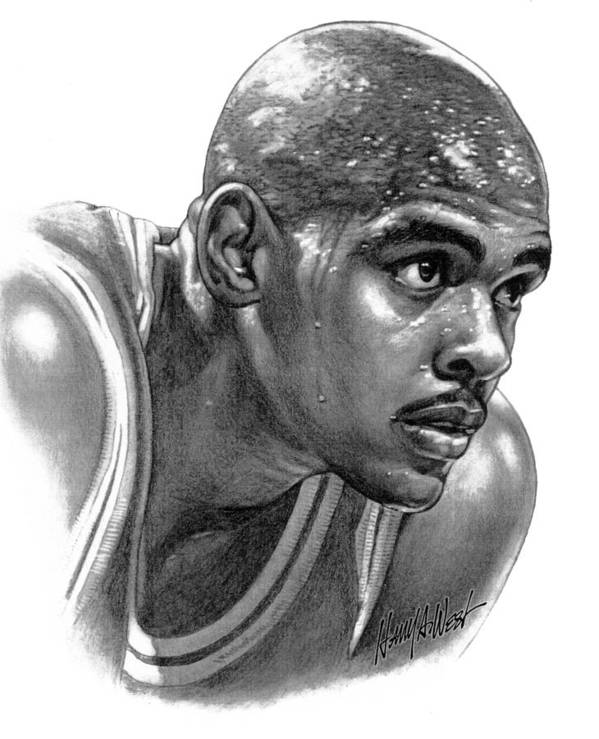 Chris Webber Poster featuring the drawing Chrs Webber by Harry West
