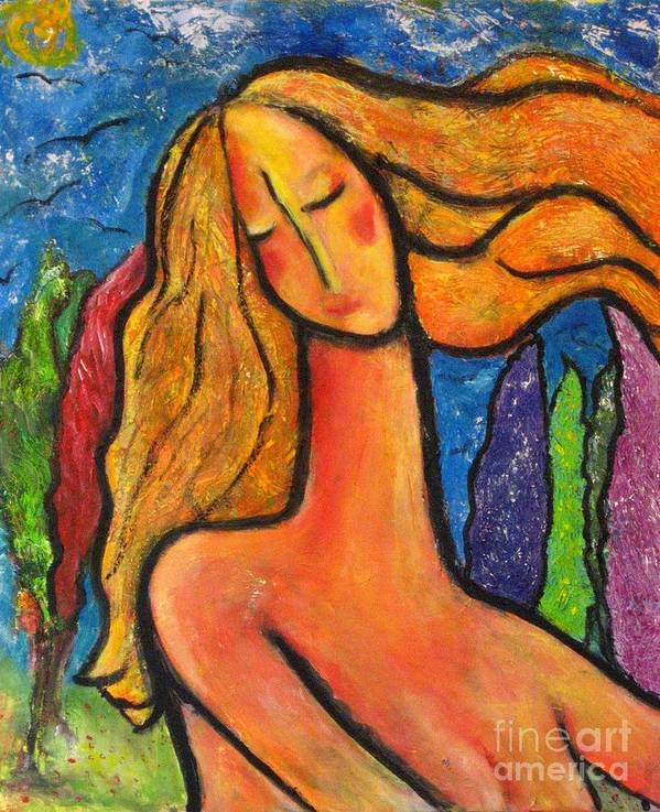 Woman Poster featuring the painting Freedom by Chaline Ouellet