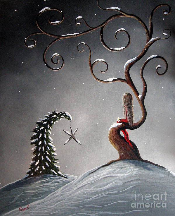 Christmas Poster featuring the painting Heaven's Brightest Star By Shawna Erback by Shawna Erback