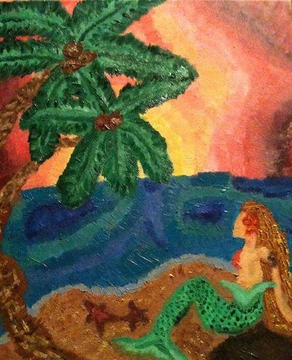 Mermaid Poster featuring the painting Mermaid Beach by Oasis Tone