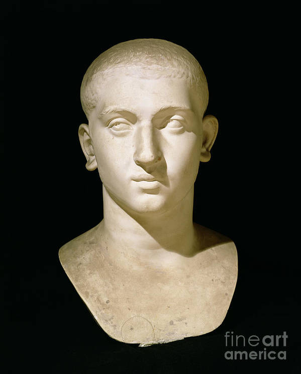 Male Poster featuring the sculpture Portrait Bust Of Emperor Severus Alexander by Anonymous