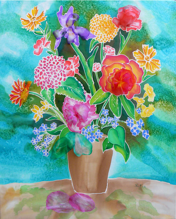 Silk Painting Poster featuring the painting Silk Teal Bouquet by Sandra Fox