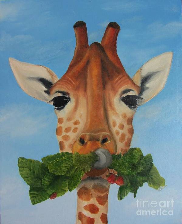 Giraffe Poster featuring the drawing Someone Is Eating My Garden by Pam Fries