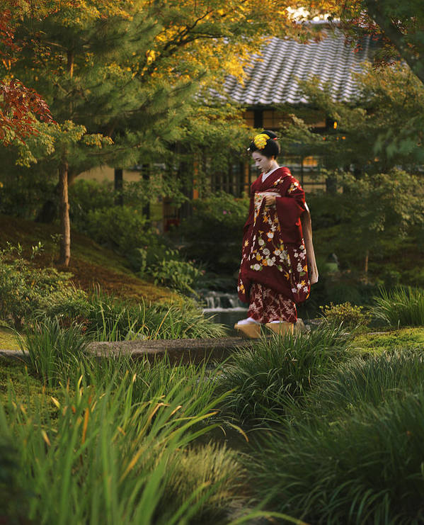 Entertainers Poster featuring the photograph Kimono-clad Geisha In A Park by Justin Guariglia