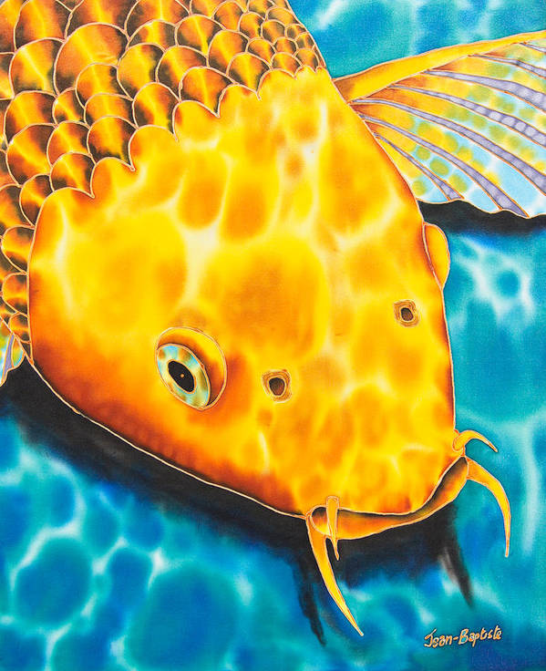 Fish Poster featuring the tapestry - textile Golden Koi by Daniel Jean-Baptiste