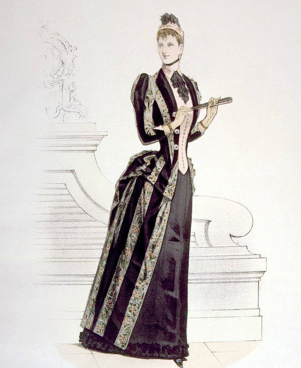 1880s Fashion Poster featuring the photograph Hand-colored Engraving Of A Woman by Everett