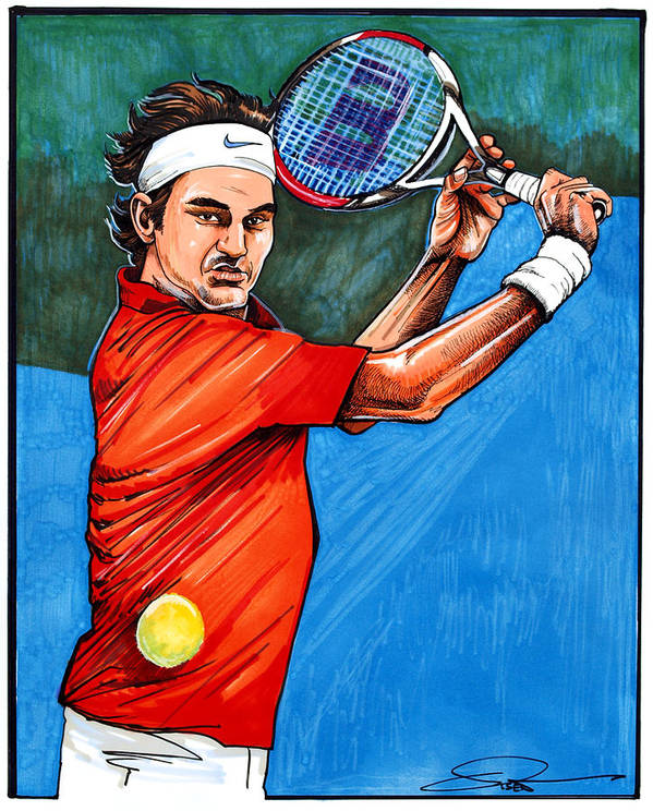 Roger Federer Poster featuring the drawing Roger Federer by Dave Olsen