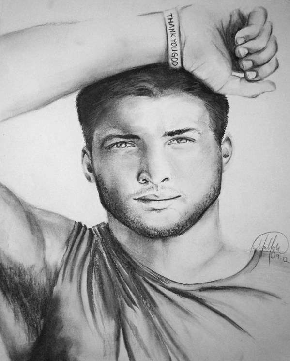 Tim Tebow Football Realistic Portrait Florida Gators Denver Broncos New York Jets Poster featuring the drawing Tim Tebow by Madelyn Mershon