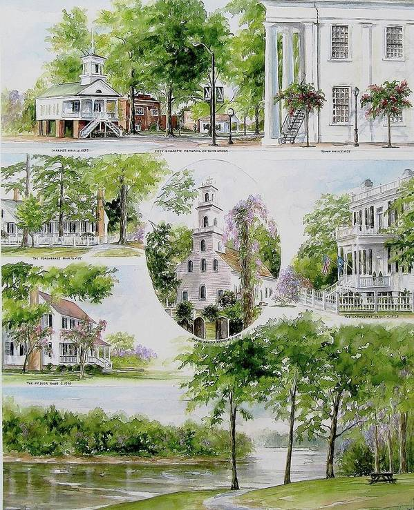 Landscapes Poster featuring the painting Cheraw Collage by Gloria Turner