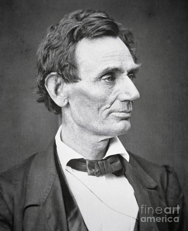Abraham Lincoln (1809-65) 1860 (b/w Photo) By Alexander Hesler (1823-95) Poster featuring the photograph Abraham Lincoln by Alexander Hesler