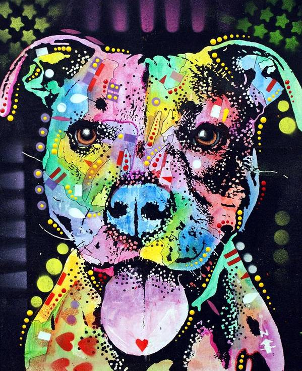 Pitbull Poster featuring the painting Cherish The Pitbull by Dean Russo