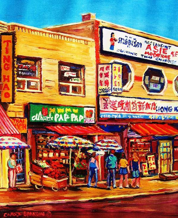 Montreal Poster featuring the painting Chinatown Markets by Carole Spandau