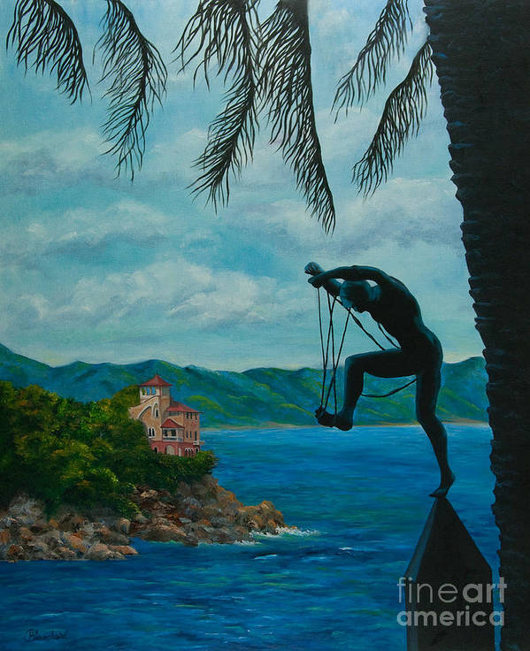 Portofino Italy Art Poster featuring the painting Gateway To Portofino by Charlotte Blanchard