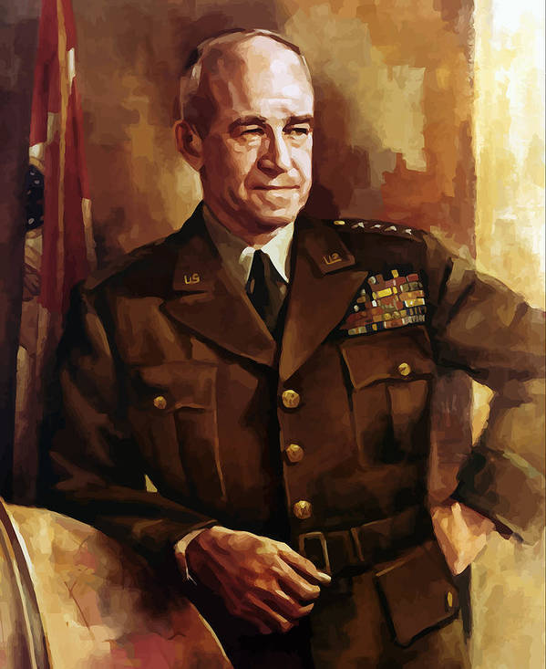 Omar Bradley Poster featuring the painting Omar Bradley by War Is Hell Store