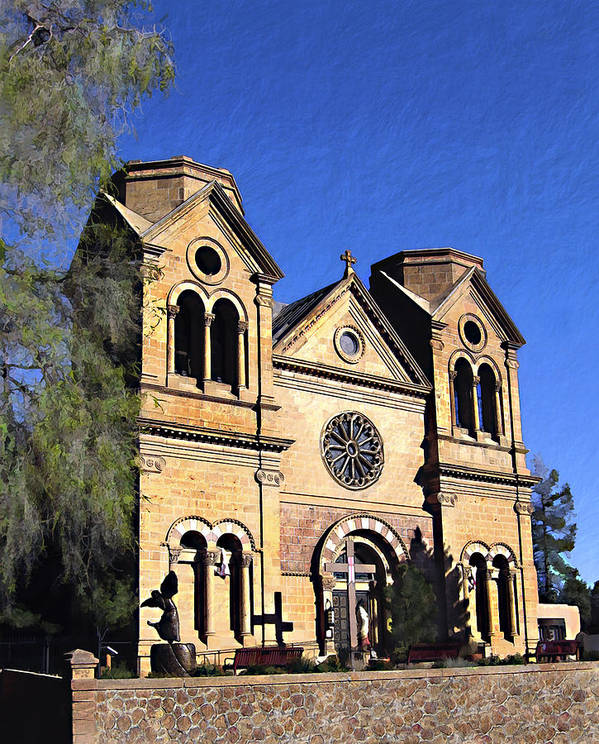 Saint Francis Poster featuring the photograph Saint Francis Cathedral Santa Fe by Kurt Van Wagner