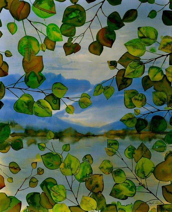 Batik Poster featuring the tapestry - textile Thru The Aspen by Carolyn Doe