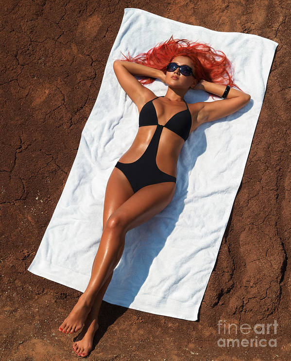 Sunbathing Poster featuring the photograph Woman Sunbathing by Oleksiy Maksymenko