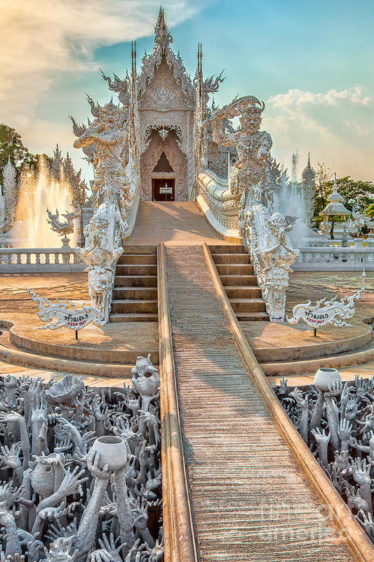 Abstract Poster featuring the photograph Rong Khun Temple by Adrian Evans