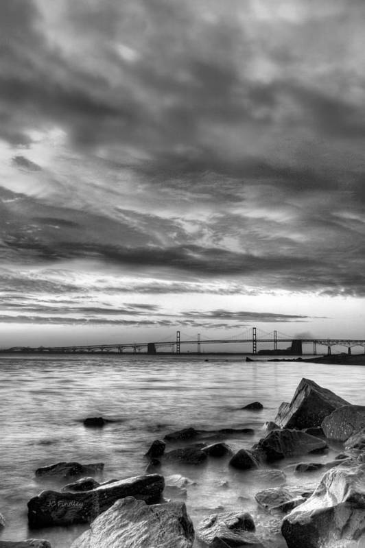 Chesapeake Bay Poster featuring the photograph Chesapeake Mornings Bw by JC Findley