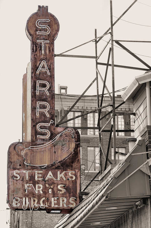 Stars Steaks Poster featuring the photograph Stars Steaks Frys And Burgers by JC Findley