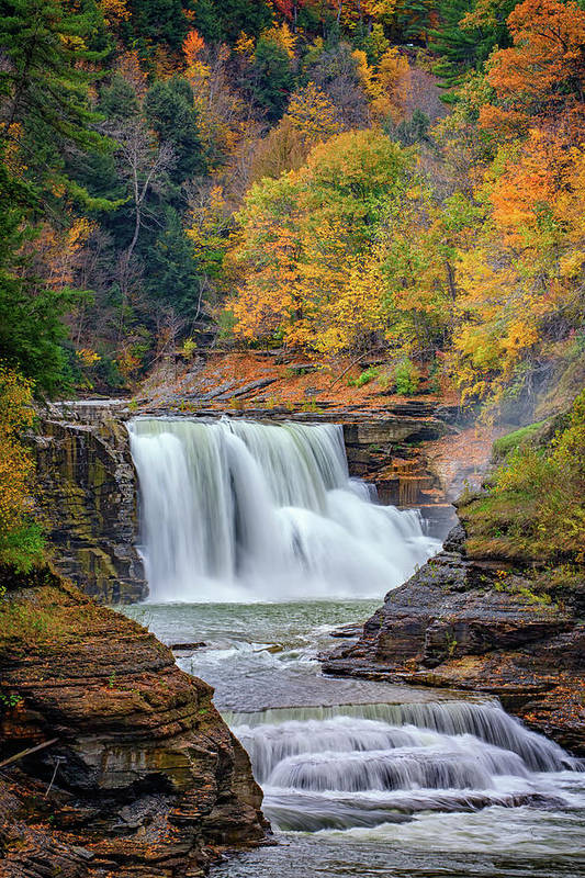 Autumn Poster featuring the photograph Autumn At The Lower Falls by Rick Berk