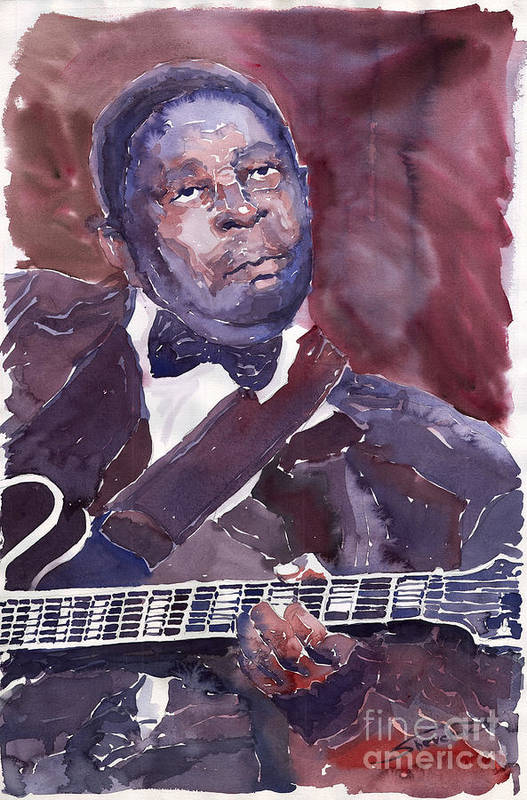 Jazz Bbking Guitarist Blues Portret Figurative Music Poster featuring the painting Jazz B B King by Yuriy Shevchuk