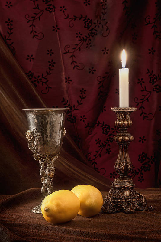 Candle Poster featuring the photograph Still Life With Lemons by Tom Mc Nemar
