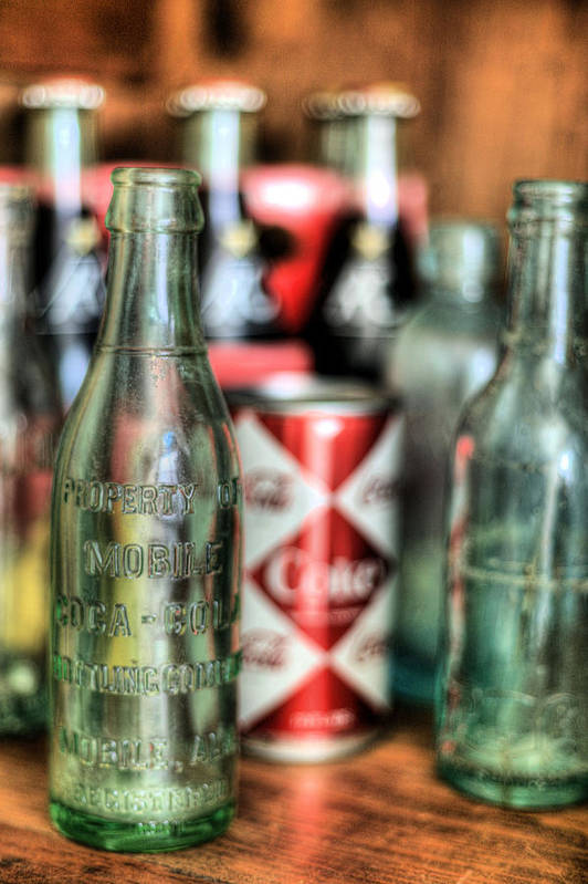 Vintage Coca Cola Coca-cola Bottle Bottles Can Cans Antique Mobile Alabama Bottling Company Al Diamond Pattern Chic Back When Poster featuring the photograph Vintage Chic by JC Findley