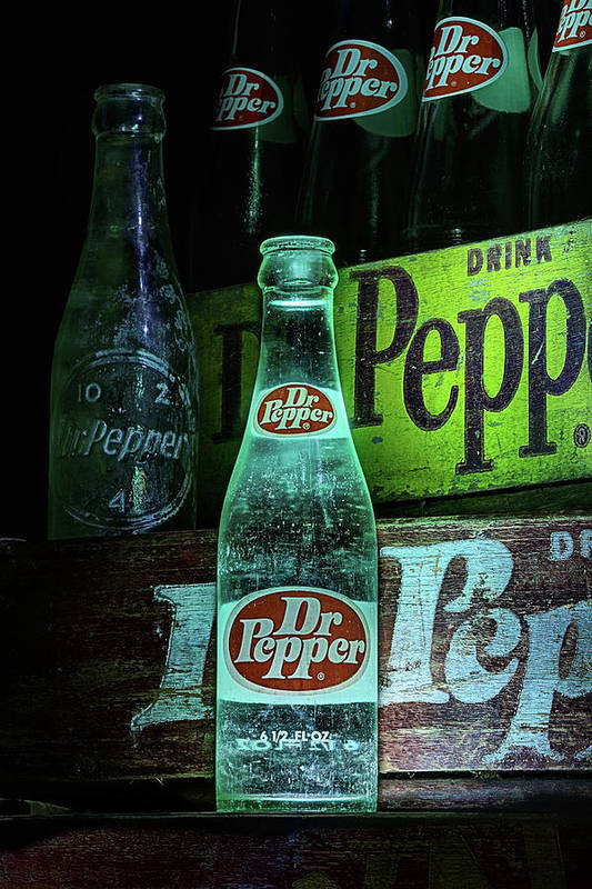 Dr Pepper Poster featuring the photograph Vintage Dr Pepper Bottles by JC Findley