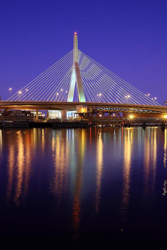 Boston Poster featuring the photograph Zakim At Twilight II by Rick Berk