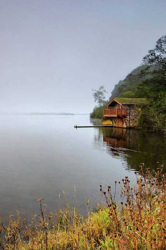 Ullswater Poster featuring the mixed media Misty Ullswater by Smart Aviation