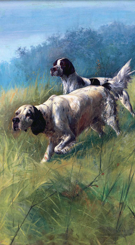 Dogs Poster featuring the painting On The Scent by Unknown