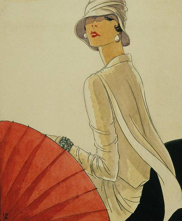 Illustration Poster featuring the digital art A Woman Sitting Wearing A White Jacket And Pearl by Porter Woodruff