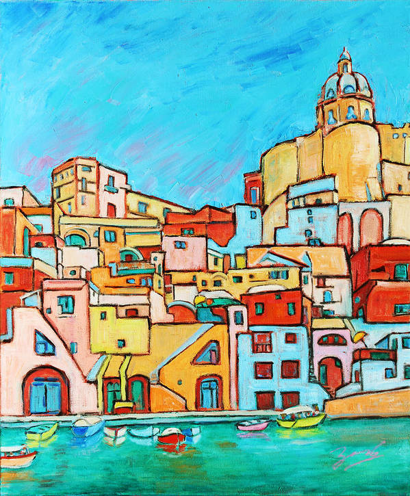 Campania Poster featuring the painting Boats In Front Of The Buildings Vii by Xueling Zou